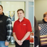 Two photos side-by-side. On the left, four men stand shoulder-to-shoulder while one holds a box displaying a purple heart award. On the right, Bernie holds a wooden US Flag while Tom looks at him.