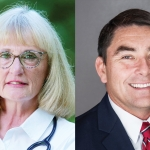 Two photos side by side. On the left is Debra, on the right is Henry. Henry smiles, wearing a suit and tie. Debra has a slightly more neutral expression and has a stethoscope over a collared shirt.