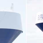 """Two photos, side by side. To the left, crews work on painting the US flag on a water tower. To the right, the finished product- a blue and white water tower saying """"Buffalo Center"""" with an American flag spanning between the words."""