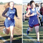 Two photos side-by-side. On the left is Miriam, and on the right is Gavin. Both are running in the North Iowa Cross Country uniform.