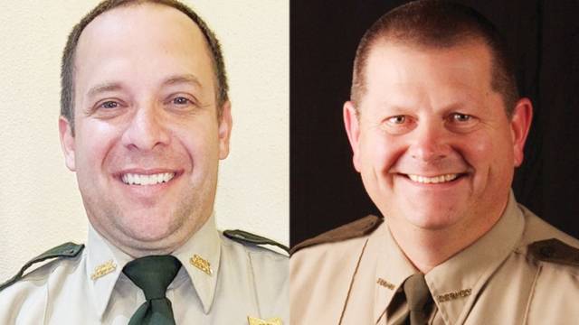 Two photos side by side. On the left is Mike, and on the right is Steve. Both have buzz cuts and wear beige police uniforms.