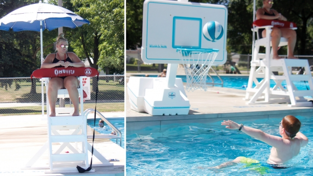 Two photos collaged together. On the left, Ligeguard Leah sits in a lifeguard chair under a blue umbrella. To the right: A boy throws a basketball through a hoop from the pool.