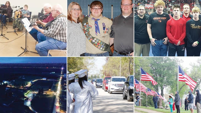 A collage of six images. One has musicians singing and playing guitar. Another has an Eagle Scout and his parents. The third is of competitors at State Wrestling. Another image shows a birds-eye view of a parade in the dark. The fifth photo shows North Iowa grads and a parade. The last image shows people gathered outside and American flags blowing in the wind.