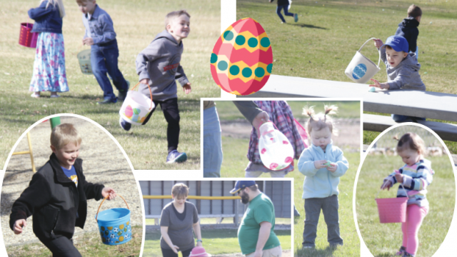 A collage of photos of children running with buckets and picking up plastic eggs.